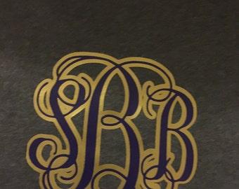 Purple and Gold vine monogram