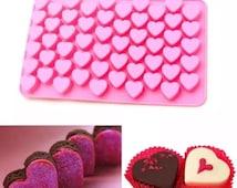 55 MINI LOVE HEARTS Silicone Cake Decorating Mould, Chocolate, Candy, Soap, Sugar Craft, Fondant, Cupcake, Baking, Tools.