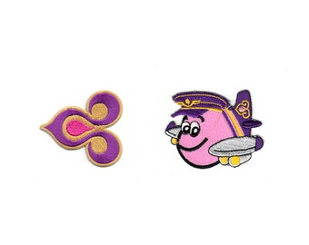 Cute Thai Airways Plane Airplanes Train US NASA Kids Toys Disney Cartoon Embroidered Iron On LOGO Patches Patch Sew Appliques t shirt