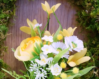 Moss Wreath with yellow flowers  24 cms bell shape