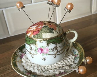 Teacup and Saucer Shabby Chic Handmade Vintage Pincushion