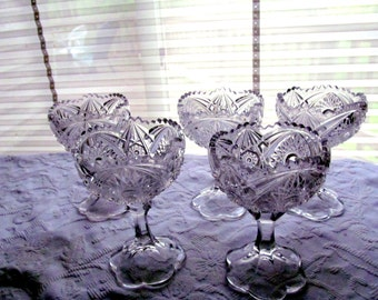 Five Early American Pattern Glass Pedestal Compotes