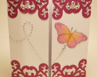 Handmade Maroon Paper Lace Rhinestoned Butterfly Card