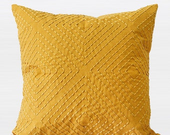 """Luxury Yellow Diamond Embroidered Pillow Cover 18""""X18"""""""