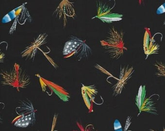 Fishing Lures Fabric...Colorful Fishing Lures on Black Quilt Fabric Timeless 2843.