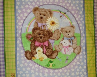 Boyds Bear quilt panel, Flannel