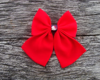 Bow tie brooch pin poppy colour