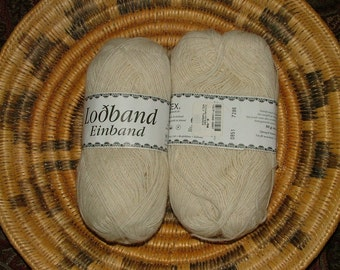Ístex Loðband Einband Icelandic Wool Yarn Made in Iceland Color No 0851 Lot No 7286 Natural Off White Crochet Knit