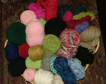 Mystery Grab Bag, 3 lbs, Mostly Worsted Weight, Some Hand Dyed, Assorted Yardage, Assorted Fibers Destash Crochet Knit - Box 5