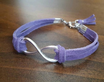 Purple leather infinity bracelet