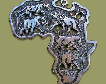 Hand carved Mahogany Africa Map