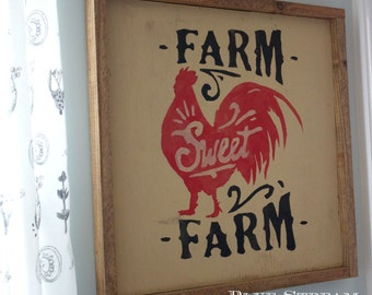 Farm Sweet Farm Wood Sign - Hand Painted Wood Farmhouse Sign - Rooster Home Decor - Cottage Style Home Decor - Wall Art - Wood Sign