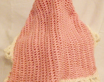 Pink  trimmed in White lap scarf
