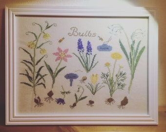 Framed Cross Stitch--- Spring bulbs&flowers