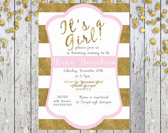 It's a Girl Baby Shower Invitation, Girl Baby Shower, Printable Invitations, Girl Shower, Pink and Gold Invitation, Baby Shower Printables,