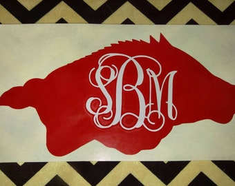 Monogrammed Arkansas Razorback Vinyl Decal