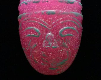Hot Pink Flake Tiki Mask with Aqua Patina Charm