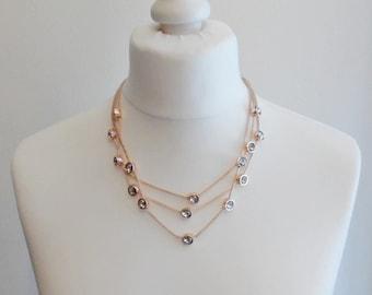 Rose Gold Diamante 3 Strand Necklace