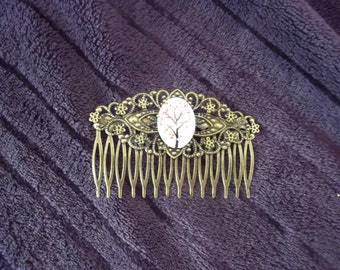 Grand peigne motif cerisier Big hair comb with cherry tree