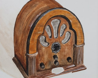 Watercolor print by me made, antique radio