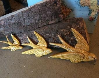 Set of three handmade ceramic birds