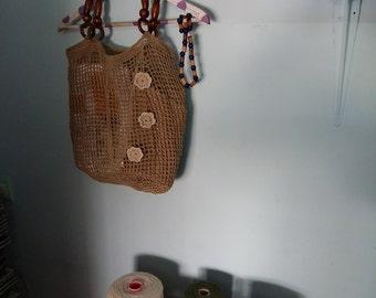 Hemp crochet net bag