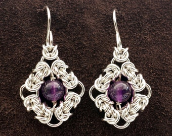 Byzantine Eye Chainmail Earrings - Sterling Silver with Amethyst