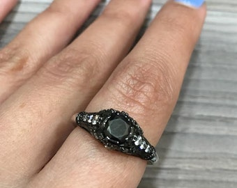 Vintage Black Diamond Engagement Ring Made in 14k Gold