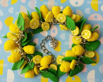 Polymer clay lemons and leaves bracelet