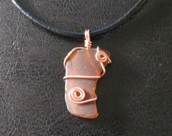 Brown Beach Glass Pendant Necklace with Leather Cord: Medium Size