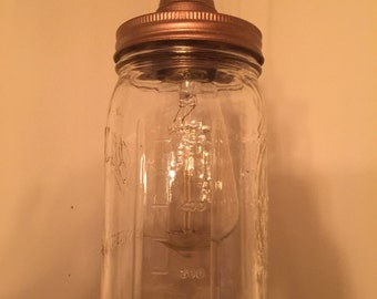 Ceilling Mount Vintage Industrial Copper Mason Jar Pendant Light- Cloth Cord- With Free Vintage 60w Edison Bulb