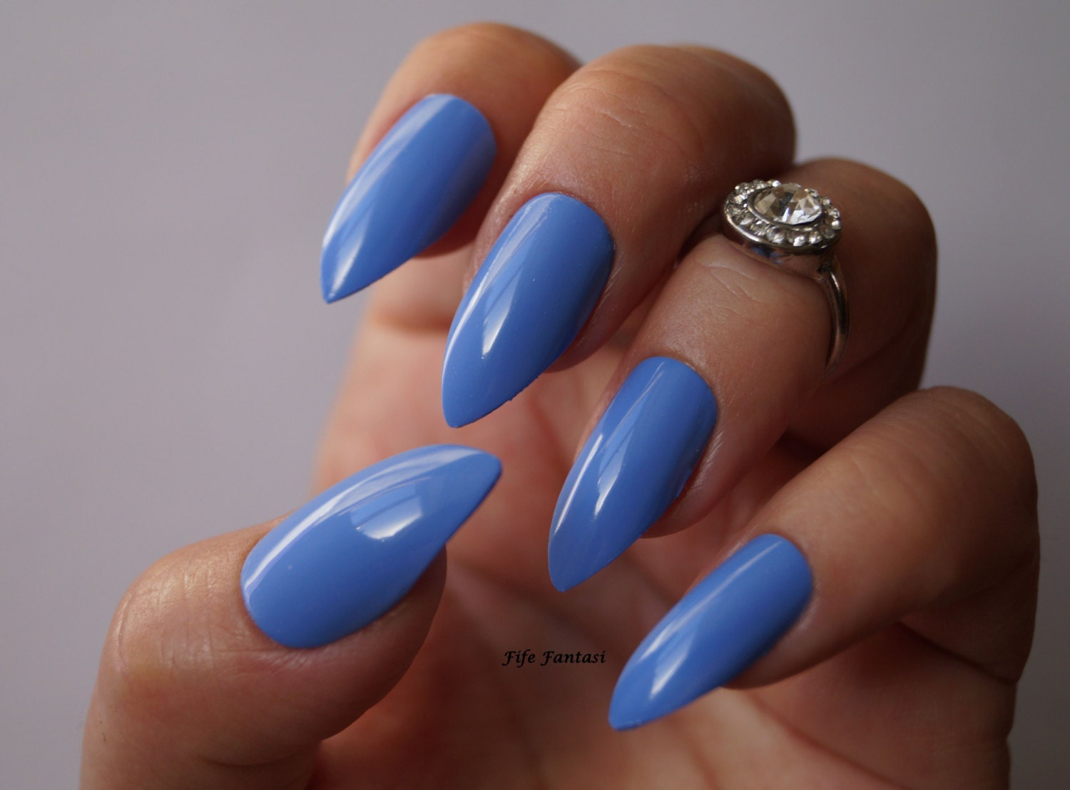 Blue stiletto nails Nail art Nails Stiletto nails Acrylic