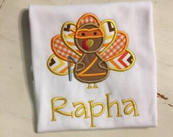 Thanksgiving Shirt Onesie // Ninja Turkey Thanksgiving Shirt // Baby Boy Thanksgiving Shirt // Thanksgiving Turkey Bodysuit Onesie