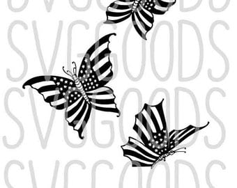 Butterfly DXF Vintage Illustration of Butterflies with American Flag Wings - Patriotic for Memorial Day, Summer, July 4th