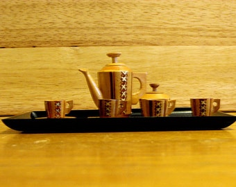 Miniature Japanese Wooden Coffee Set