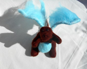 Lucky the Dragon, Needle felted, Handmade, Soft sculpture