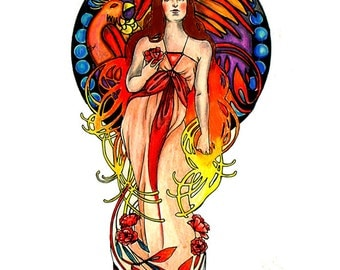 Nouveau Phoenix - Tattoo Design