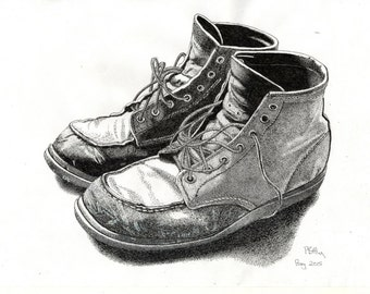 Pen & Ink Drawing, A4 - Old Boots