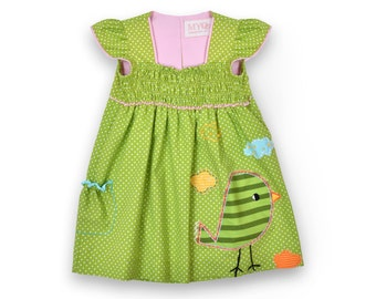 Polka dot dress, hand made embroidery dress, baby dress, birthday dress, green pink dress