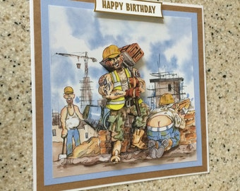 "Handmade Birthday 3D decoupage card bricklayer builder humourous 6"" x 6"" cheeky amusing comical brickie"