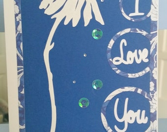 Blue And White I Love You Card