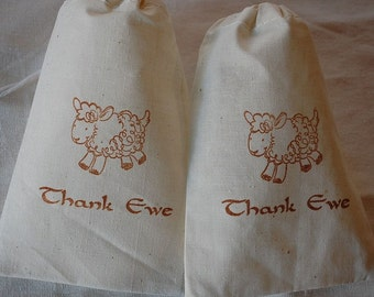 10 Baby Shower lamb Thank Ewe muslin cotton party favor bags 3x5 inch - you choose ink color - great for baby parties