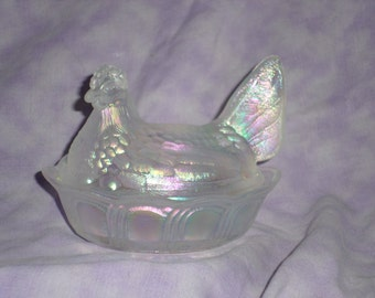 Fenton frosted iridescent hen on a basket