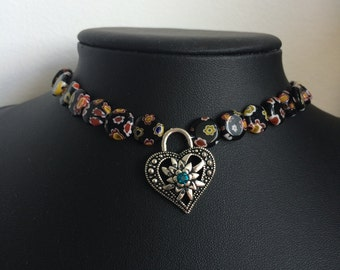 Glass Flower Beads and Tracht Heart Necklace