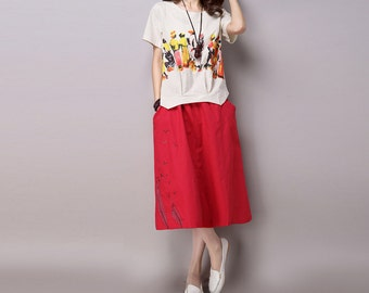 Red Maxi Linen Woman Skirt - Linen Skirt - Spring Skirt