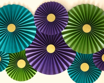 Teal, Purple, Green, and Gold Rosettes, Paper Fans, Pinwheels, Peacock Color Scheme