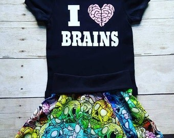 Zombie Outfit,baby zombie outfut,back to school outift,zombie kid,zombies,I love brains,kids outfit,baby outfit,rainbow zombie baby outfit