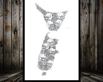 A3 NZ Skull & Roses