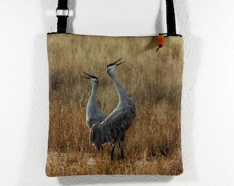 Linen Cotton Purse with Bosque del Apache Two Cranes Calling Photo Print