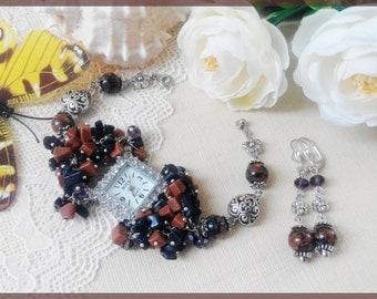 Woman watch Brown earrings Bracelet watch Wrist woman watch Beaded watches Brown watches Aventurine earrings Lady watch Christmas gift